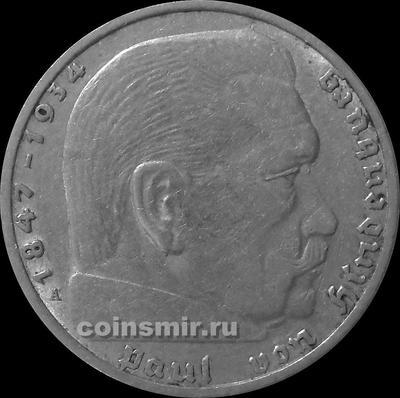2 марки 1937 А Германия. Гинденбург. Третий Рейх.