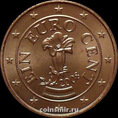 1 евроцент 2008 Австрия. Альпийская горечавка.