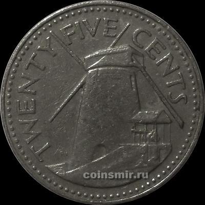 25 центов 1987 Барбадос. Мельница.