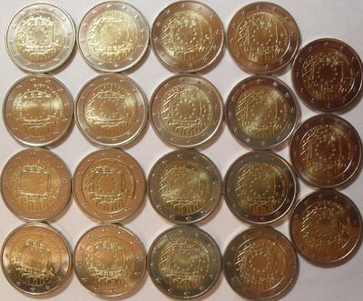 Набор из 19 монет 2 евро. 30 лет флагу ЕС.