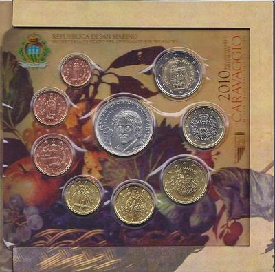Набор монет 2010 Сан-Марино. Караваджо.