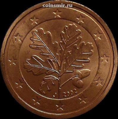 2 евроцента 2002 J Германия. Листья дуба.