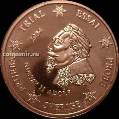 2 евроцента 2004 Швеция. Европроба. Specimen. Король Густав II Адольф.