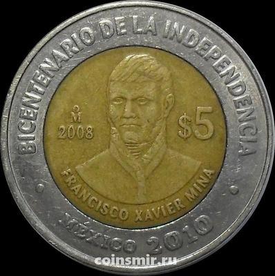 5 песо 2008 Мексика. Франсиско Хавьер Мина. VF