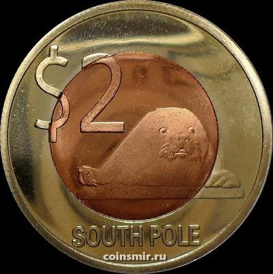 2 доллара 2013 Южный полюс.