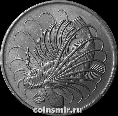 50 центов 1974 Сингапур. Рыба-лев.