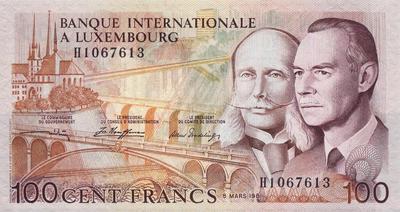 100 франков 1981 Люксембург.
