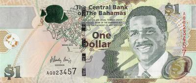 1 доллар 2015 Багамские острова. Новая карта.