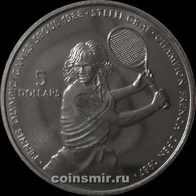 5 долларов 1987 остров Ниуэ. Штеффи Граф. Теннис.