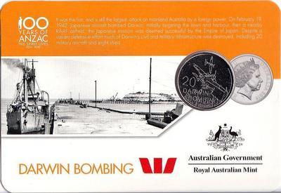 25 центов 2016 Австралия. 100 лет АНЗАК — бомбардировка Дарвина.