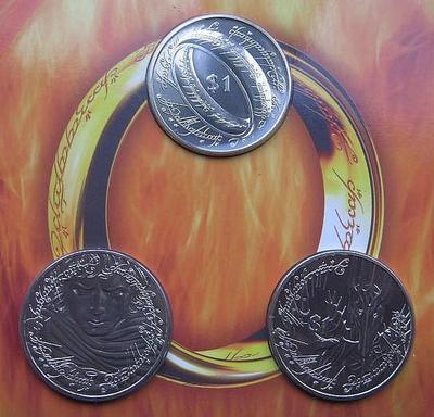 Набор из 3 монет 2003 Новая Зеландия. Властелин колец. Буклет.