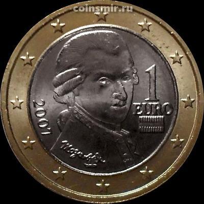1 евро 2007 Австрия. Моцарт. ХF