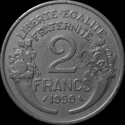 2 франка 1959 Франция. Монета с дефектом.