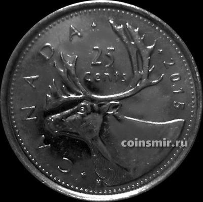 25 центов 2015 Канада. Северный олень.