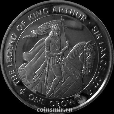 1 крона 1996 остров Мэн. Легенда о короле Артуре. Сэр Ланцелот.