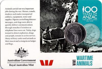 20 центов 2015 Австралия. АНЗАК - Первая Мировая Война 1914-1918. Животные на войне. Открытка.