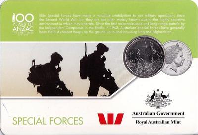 25 центов 2016 Австралия. 100 лет АНЗАК — Спецназ.