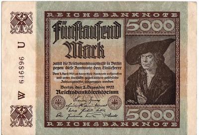 5000 марок 1922 Германия.