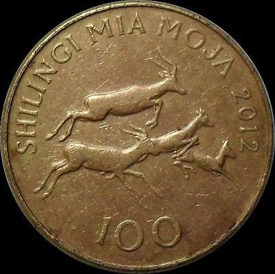 100 шиллингов 2012 Танзания. VF.