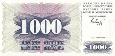 1000 динар 1992 Босния и Герцеговина.