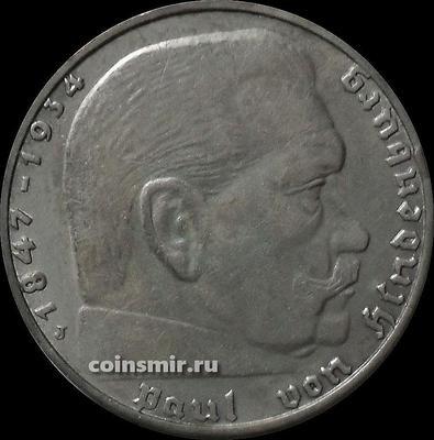 2 марки 1936 J Германия. Гинденбург. Третий Рейх.