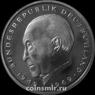 2 марки 1975 G Германия (ФРГ). Конрад Аденауэр. Пруф.