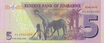 5 долларов 2016 Зимбабве. Bond note.