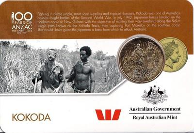 25 центов 2016 Австралия. 100 лет АНЗАК — Битва Кокода.