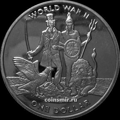 1 доллар 2019 Британские Виргинские острова. 80 лет с начала Второй мировой войны.
