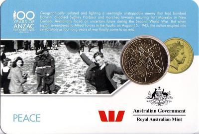 25 центов 2016 Австралия. 100 лет АНЗАК — Мир. Окончание войны.