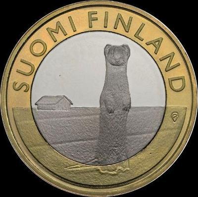 5 евро 2015 Финляндия. Горностай.