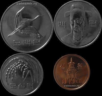 Набор из 4 монет 2012,2015 Южная Корея.