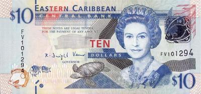 10 долларов 2012 Восточные Карибы.