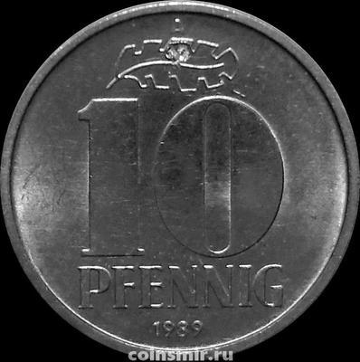 10 пфеннигов 1989 A Германия ГДР. Состояние на фото.