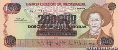 200000 кордоб 1990 на 1000 кордоб 1985 Никарагуа.