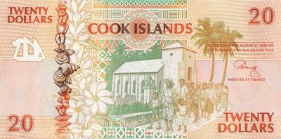 20 долларов 1992 острова Кука.