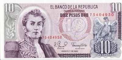 10 песо 1980 Колумбия.