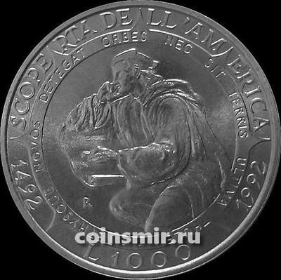 1000 лир 1992 Сан-Марино. 500-летие открытия Америки. Христофор Колумб.
