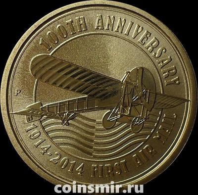 1 доллар 2014 Тувалу. 100 лет авиапочте.