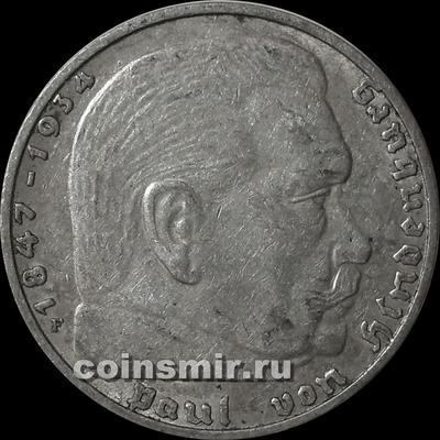 2 марки 1938 F Германия. Гинденбург. Третий Рейх.