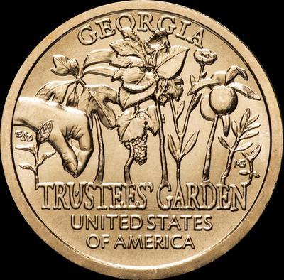1 доллар 2019 P США. Американские инновации. Штат Джорджия, Сад Попечителей.
