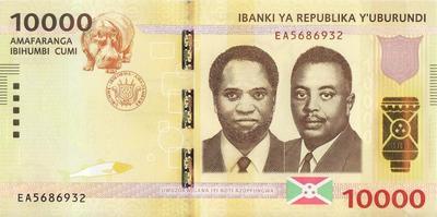 10000 франков 2015 Бурунди.