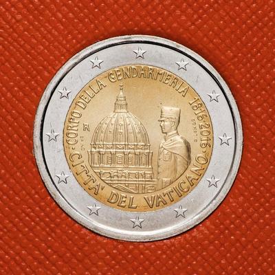 2 евро 2016 Ватикан. 200 лет Папской Жандармерии.