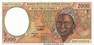 2000 франков 1993-2000 С КФА BEAC (Центральная Африка).