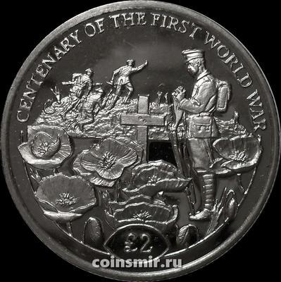 2 фунта 2018 Британская территория в Индийском океане. 100 лет окончания Первой мировой войны.