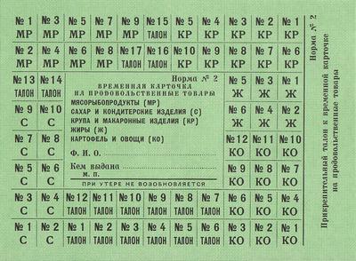 Карточка на продовольственные товары Норма №2.