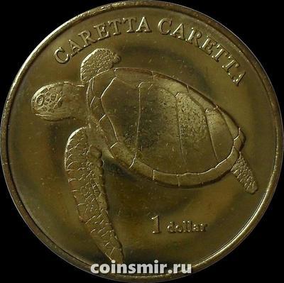 1 доллар 2017 остров Муреа. Морская черепаха.