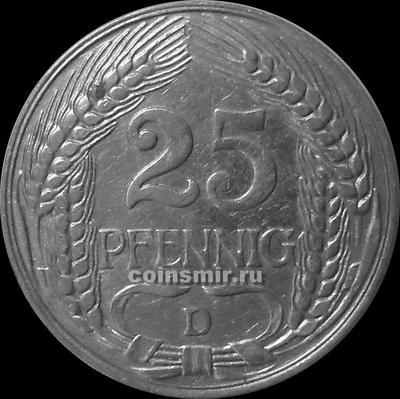 25 пфеннигов 1910 D Германия.