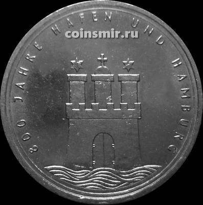 10 марок 1989 J Германия ФРГ.  800-летие Гамбургской Гавани.
