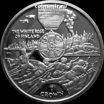 1 крона 2005 остров Мэн. Орден Белой розы Финляндии.